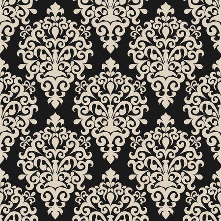Seamless floral damask Wallpaper on dark Background for Design Vectores