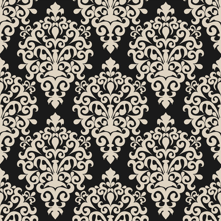 Seamless floral damask Wallpaper on dark Background for Design 向量圖像