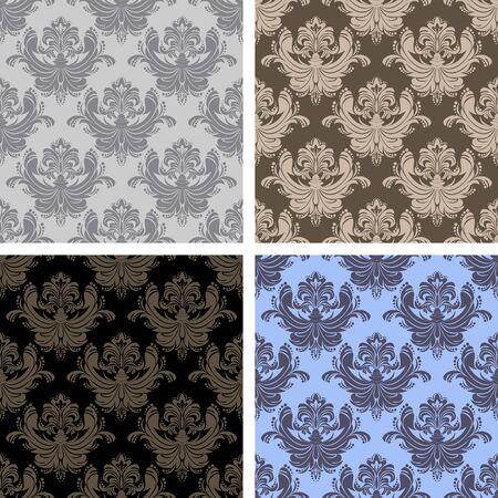 Seamless damask ornamental Wallpaper - set on four Variants