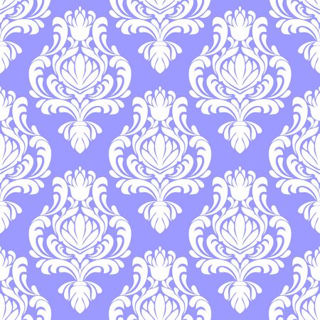 Seamless damask  white Wallpaper on blue in retro Style