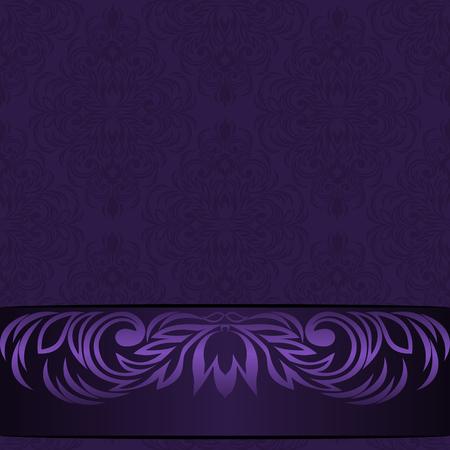 Elegant damask violet Background with ornamental Border - Invitation Design