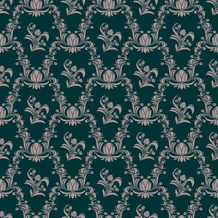 Seamless retro floral Wallpaper on turqoise