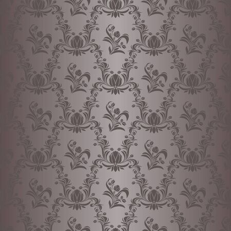 Seamless damask floral Wallpaper in grey Colors