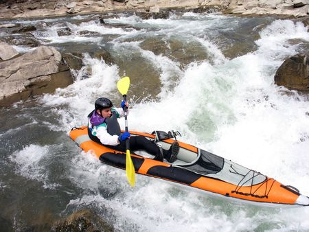 white water rafter close Stock Photo