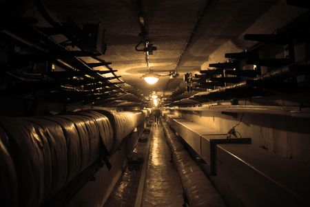underground: Dark bad lighted underpass for workers of rocket control station