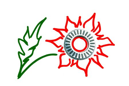 Bearing spare part as a Red Flower logo on white photo