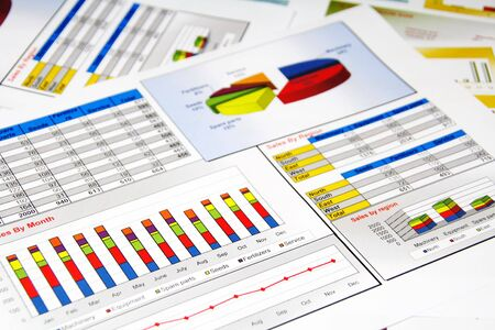 sales report: Sales Report in Statistics, Graphs and Charts Colored