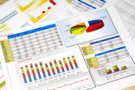 Sales Report in Statistics, Graphs and Charts Colored Stock Photo - 7805428
