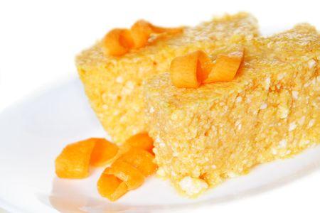 Pompoen en kaas Cas ser ole Dessert met gebogen decoratie