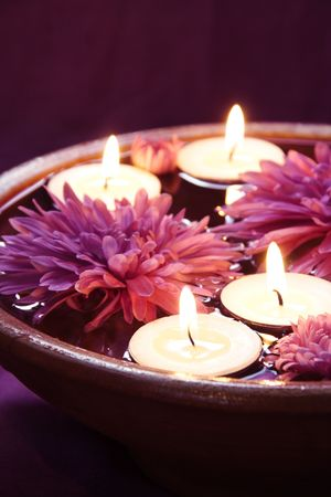 Aroma Bowl with Candles and Flowers in Violet photo