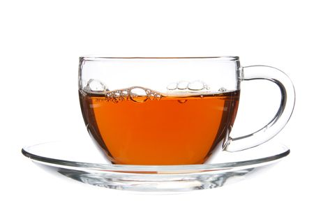 Tea in Glass Cup Isolated on White Stock Photo