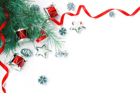Christmas Decorations Border. Not Isolated. With Copyspace