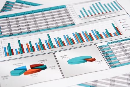 riferire: Relazione annuale. Grafici, diagramma, grafici, analisi dei dati. Selective Focus Archivio Fotografico