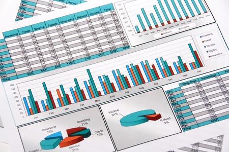 Jaar verslag van uitgaven en ingaan in grafieken en diagrammen Stockfoto