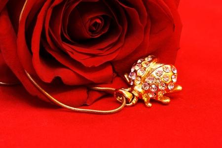 Gouden sieraden Ladybug and Red Rose Still Life