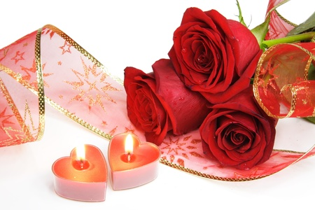 Two Valentine Burning Candle Hearts and Roses Stock Photo