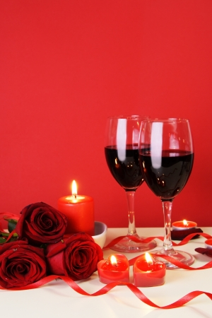 Romantic Candlelight Dinner for Two Lovers Concept Vertical photo