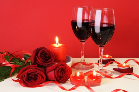 Romantic Candlelight Dinner for Two Lovers Concept Horizontal photo