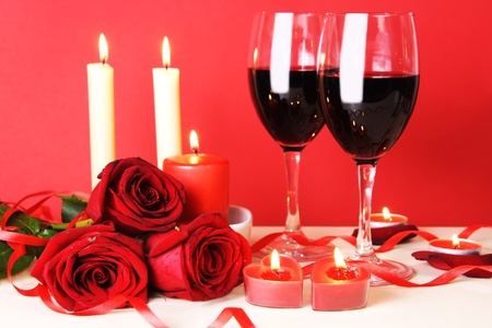 light meal: Romantic Dinner for Two with Wine Still Life Stock Photo