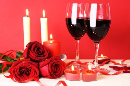 Romantisch diner voor twee met wijn Still Life Stockfoto