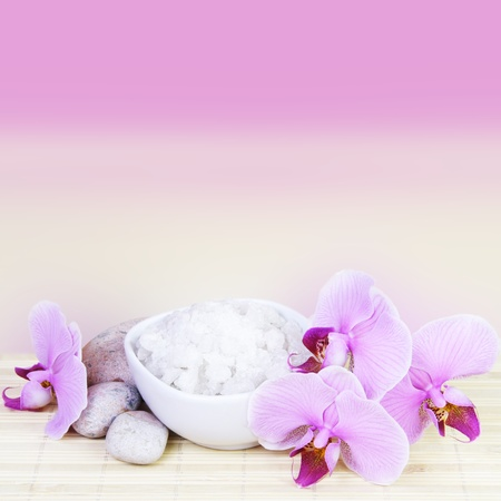 alternative wellness: Spa Still Life with Pink Orchids Space for Text Square Stock Photo