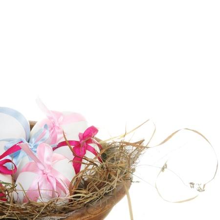 White Easter Eggs in Grass Nest photo