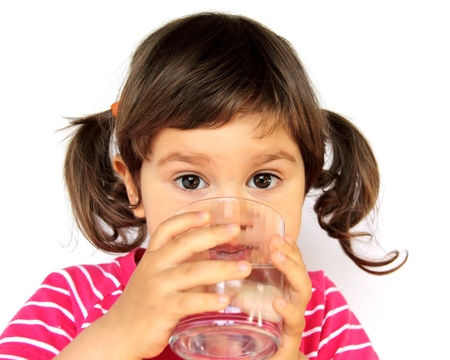 girl drinking water: Little Curly Girl Drinking Pure Water Portrait