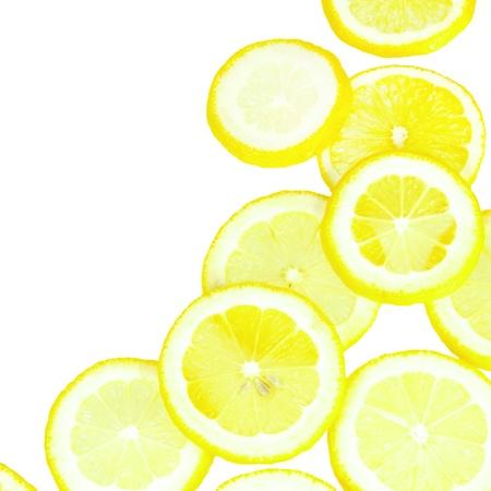 Lemon Yellow Overlapped Slices Border over White Stock Photo