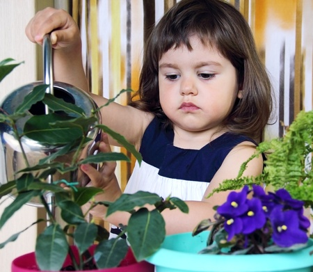 Serious Little Girl Watering Flowers with Her Can photo