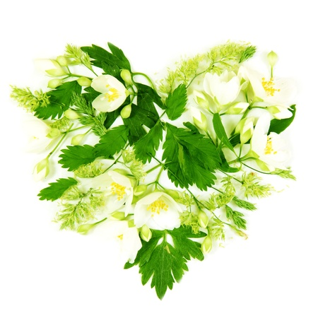 Floral Heart Shape Made of Flowers and Leaves Stock Photo