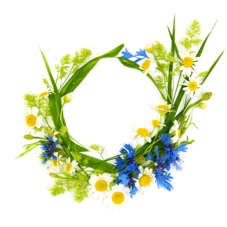 Floral Round Frame Made of Summer Flowers