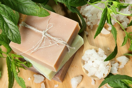 Homemade Soap and Sea Salt with Mint Leaves Stock Photo