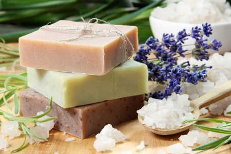 homemade: Homemade Soap with Lavender Flowers and Sea Salt Stock Photo