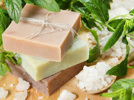 Herbal Soap and Sea Salt with Mint Leaves