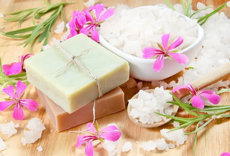 Spa Herbal Soap and Scented Sea Salt with Flowers photo