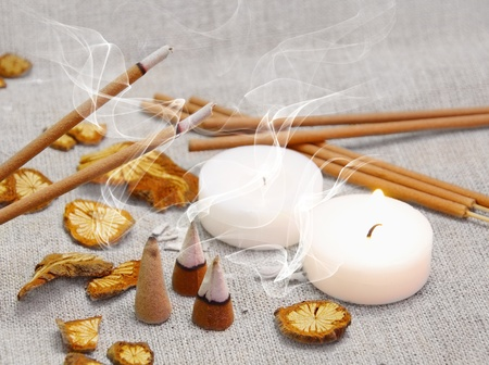 incense sticks: Aroma Set of Candles, Smoking Sticks and Pyramids Stock Photo