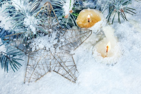 Christmas Background with Burning Candle in Blue photo