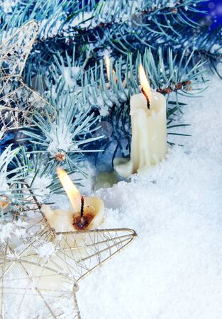 Christmas Still Life with Burning Candles Vertical photo