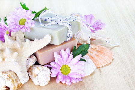 toiletries: Homemade Luxury Soap with Flowers and Shells