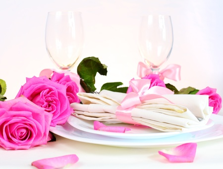 Arrangement for Romantic Dinner with Pink Roses photo
