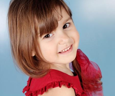 Little Child Smiling Girl Portrait Studio Shot Stock Photo - 13335285