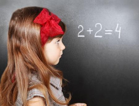 near side: Girl Near Blackboard Learning Maths Side Portrait