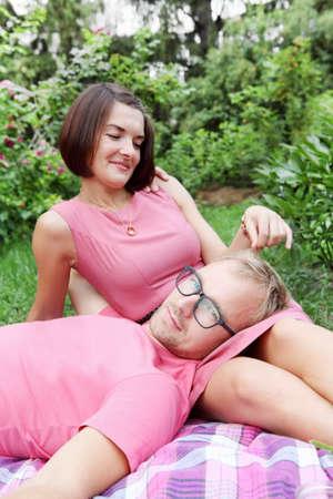 fondling: Woman Fondling Man Lovers Sitting on Picnic