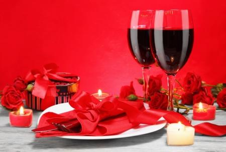 Romantisch diner bij kaarslicht voor Two Lovers Concept Horizontale Stockfoto