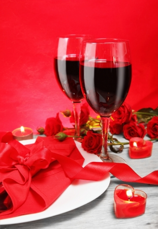 Romantic Candlelight Dinner for Two Lovers in Red