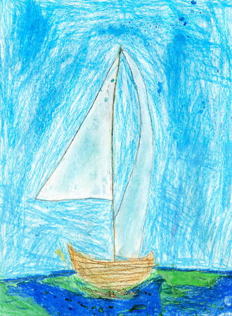 child's: Child Drawing of Sailboat on the Sea, Oil Pastels