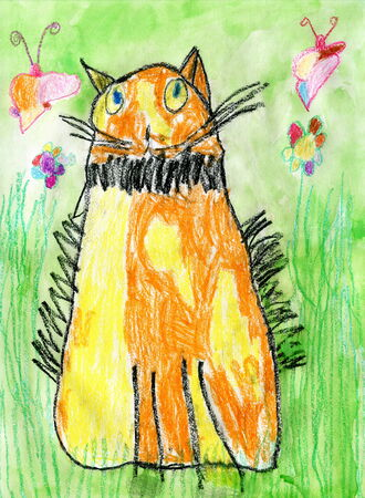 child's: Child Drawing of Red Cat with Yellow Spots, Oil Pastels Stock Photo
