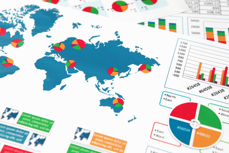 charts graphs: Financial paper charts and graphs in report