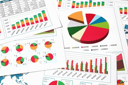 bar graph: Financial printed paper charts, graphs and diagrams Stock Photo
