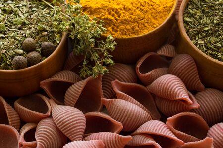 Pasta with curcuma and herbs  Stock Photo
